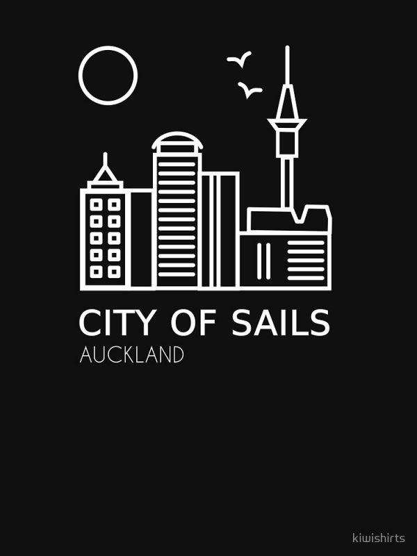 Auckland City of Sails White on Black design