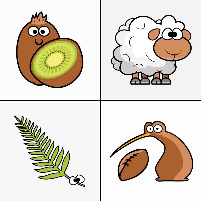 New Zealand Cartoons T-Shirt Design