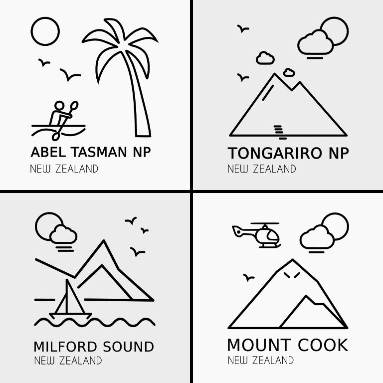 New Zealand Regions T-Shirt Design