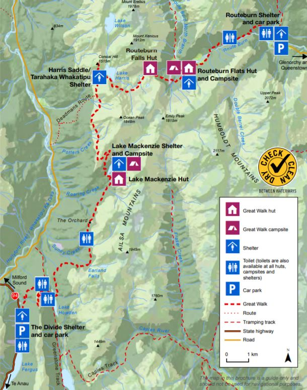 Routeburn Track Map with Toilets
