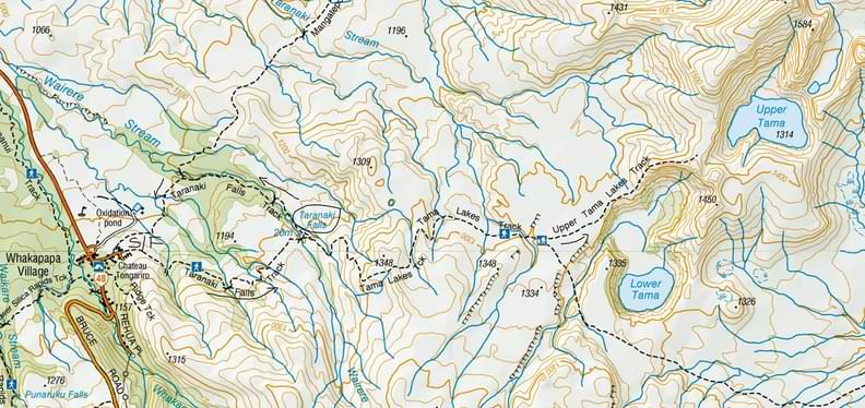 Tama Lakes Hike Map