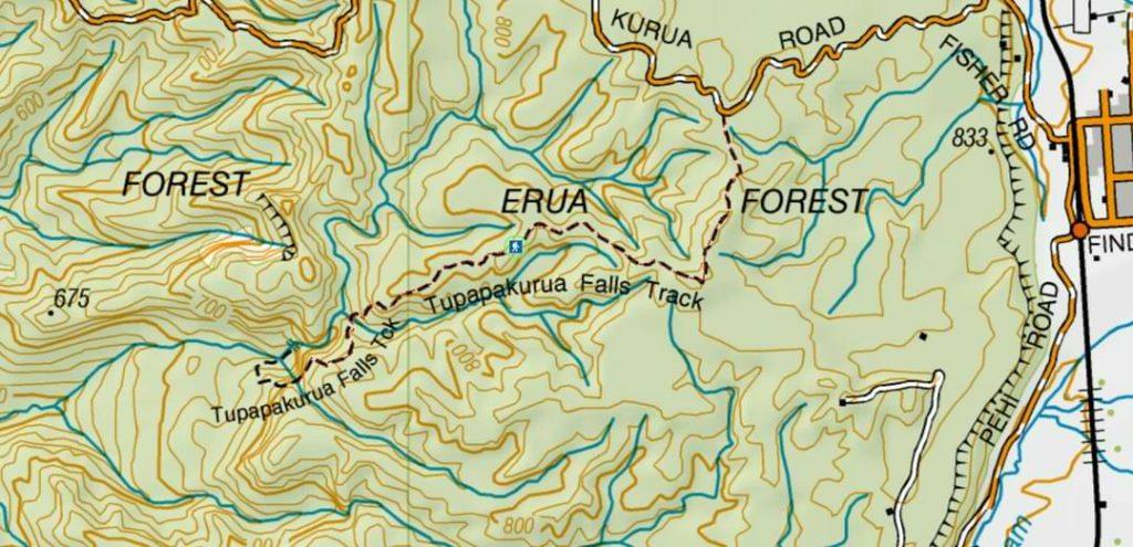 Tupapakurua Falls Track Map