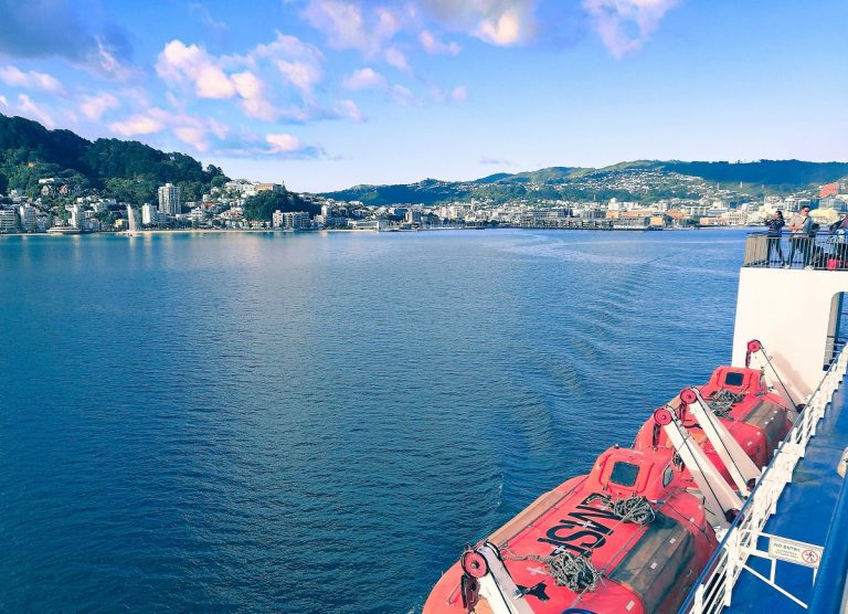 Crossing the Cook Strait between North and South Island